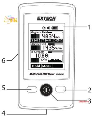 Máy đo điện từ trường Extech EMF450: mặt trước
