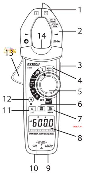 Hướng dẫn sử dụngAmpe kìm Extech EX655