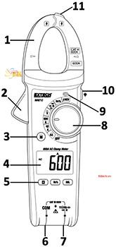 Cách sử dụng ampe kìm Extech MA610