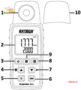 Hướng dẫn sử dụngMáy đo cường độ ánh sáng Extech UV510: