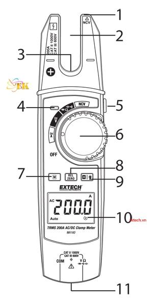 Hướng dẫn sử dụngAmpe kìm Extech MA160