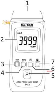 Hướng dẫn sử dụngMáy đo năng lượng mặt trời Extech SP505