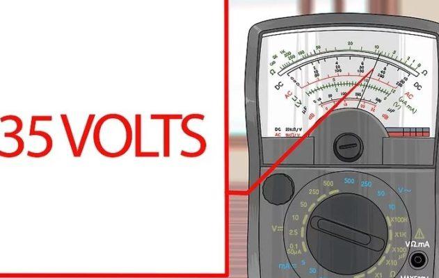 Cài đặt thang đo điện áp phù hợp ứng với mặt số chỉ kim