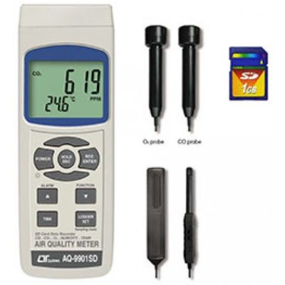 Máy đo nhiệt độ, độ ẩm và nồng độ CO2,O2,CO Lutron AQ-9901SD