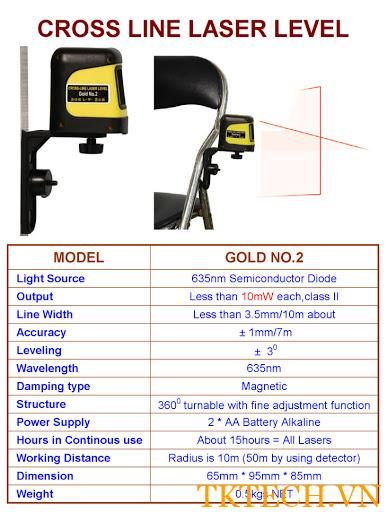 Thông số Máy quét laser TCVN GOLD-NO.2