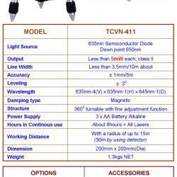 thông số Máy cân bằng Laser TCVN-411
