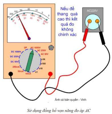 Sử dụng đồng hồ vạn năng đo áp AC